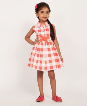 Solly & Dolly Sleeveless Checked Dress - Orange