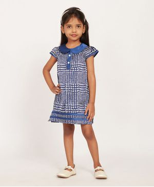 Solly & Dolly Short Sleeves Checked Dress - Blue