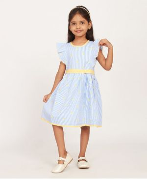Solly & Dolly Short Sleeves Striped Dress - Sky Blue