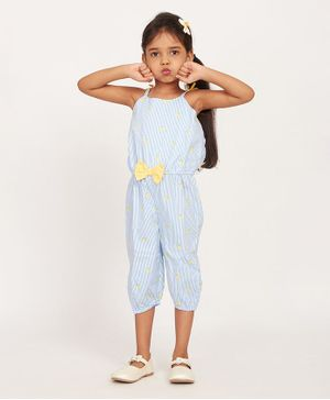 Solly & Dolly Sleeveless Striped Jumpsuit - Sky Blue