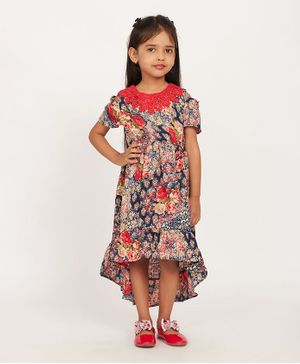 Solly & Dolly Half Sleeves Cold Shoulder Flower Print High Low Dress - Red