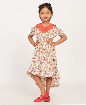 Solly & Dolly Half Sleeves Cold Shoulder Flower Print High Low Dress - Peach