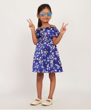 Solly & Dolly Off Shoulder Half Sleeves Flower Print Dress - Blue