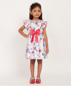 Solly & Dolly Short Sleeves Rose Flower Print Dress - Pink