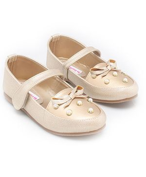 In Fashion by Solly & Dolly Bow Detailed Pearl Embellished Mary Janes - Golden