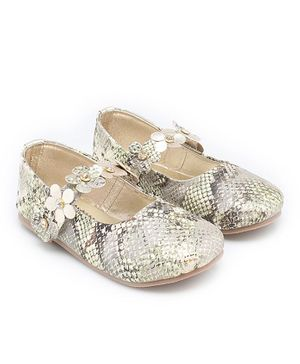 In Fashion by Solly & Dolly Snake Design Mary Janes - Silver