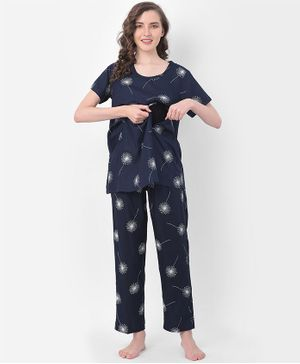 Clovia Half Sleeves Printed Night Suit - Blue