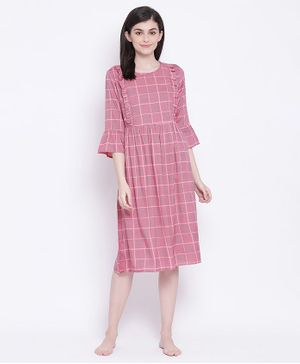 Clovia Half Sleeves Checked Short Night Dress - Dark Pink