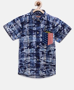 Actuel Half Sleeves Camouflage Printed Shirt - Blue