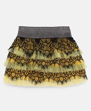 Actuel Flower Lace Detailing Skirt - Yellow