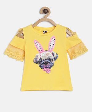 Actuel Half Sleeves Dog Print Detailing Cold Shoulder Top - Yellow