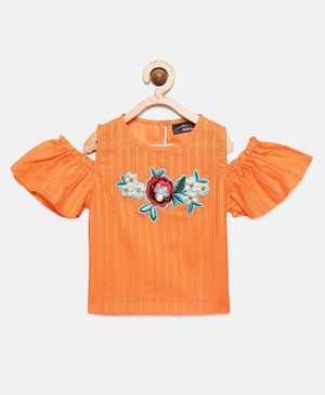 Actuel Half Sleeves Flower Embellished Top - Orange