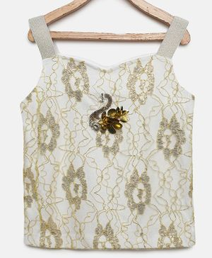 Actuel Sleeveless Glitter Finish Top - Golden