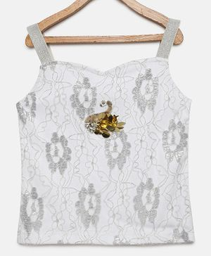 Actuel Sleeveless Glitter Finish Top - Silver