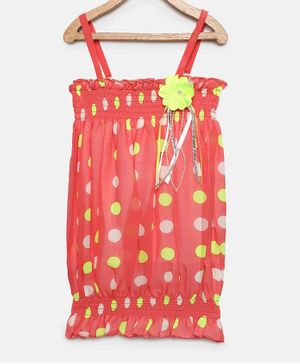 Actuel Sleeveless Polka Dotted Top - Yellow
