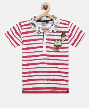 Actuel Striped Half Sleeves Tee - Red