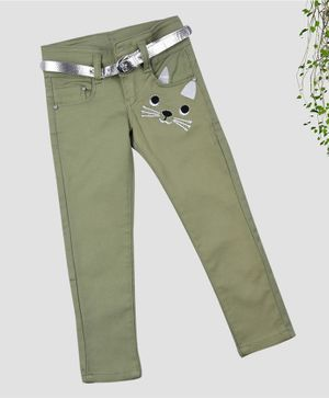 ZIBA CLOTHING Full Length Animal Patch Jeans - Green