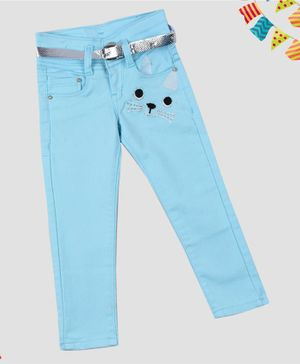ZIBA CLOTHING Full Length Animal Patch Jeans - Sky Blue