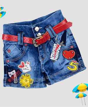 ZIBA CLOTHING Hearts & Flowers Embellished Shorts With Belt - Blue
