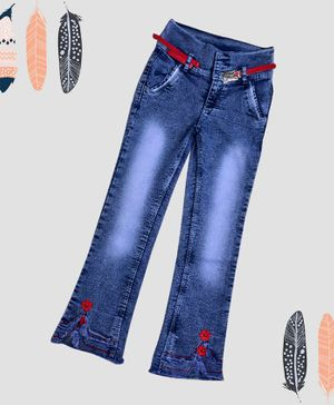 ZIBA CLOTHING Full Length Flower Patch Jeans - Blue