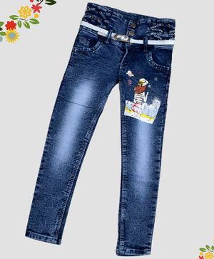 ZIBA CLOTHING Full Length Girl Printed Jeans - Blue
