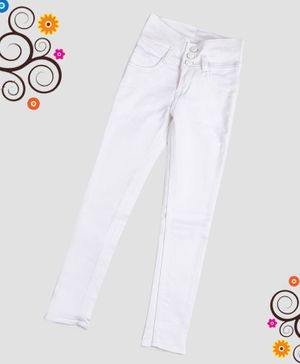 ZIBA CLOTHING Full Length Solid Jeans - White
