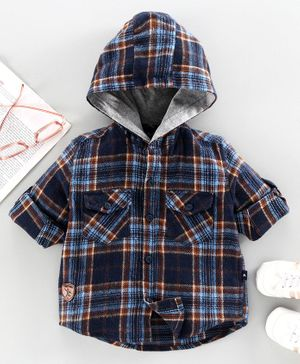 Trendy Cart Full Sleeves Hooded Checked Shirt - Blue