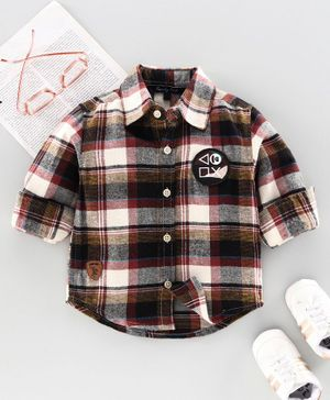 Trendy Cart Full Sleeves Checked Shirt - Brown