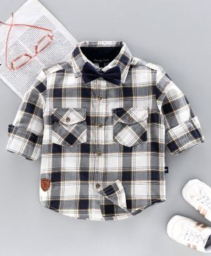 Trendy Cart Full Sleeves Checked Shirt With Bow - Black