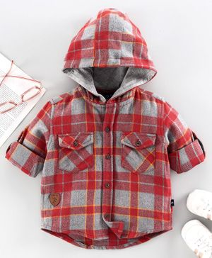 Trendy Cart Full Sleeves Checked Hooded Shirt - Red