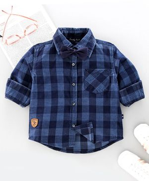 Trendy Cart Full Sleeves Checked Shirt With Bow - Blue