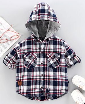 Trendy Cart Full Sleeves Checked Hooded Shirt - Blue