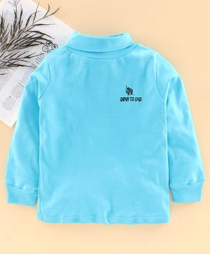 DEAR TO DAD Full Sleeves Solid Color T-Shirt  - Sky Blue