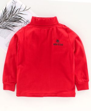 DEAR TO DAD Full Sleeves Solid Color T-Shirt  - Red