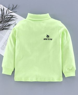 DEAR TO DAD Full Sleeves Solid Color T-Shirt  - Green