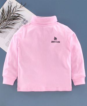 DEAR TO DAD Full Sleeves Solid Color T-Shirt  - Pink