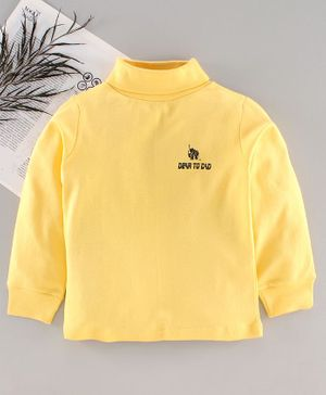 DEAR TO DAD Full Sleeves Solid Color T-Shirt  - Yellow
