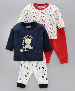 Bumzee Full Sleeves Bear & Leaves Print Pack Of 2 Tee With Pack Of 2 Pajamas - Blue Red