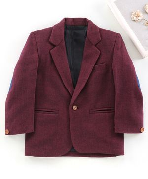 Rikidoos Full Sleeves Solid Blazer - Maroon