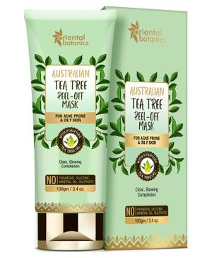 Oriental Botanics Australian Tea Tree Peel Off Mask - 100gm | For Acne Prone & Oily Skin, No SLS and Paraben