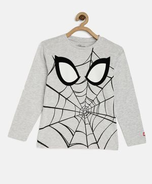 LOOCUST Full Sleeves Spider Man Print Tee - Grey
