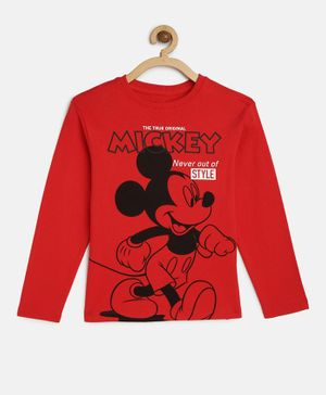 LOOCUST Mickey Mouse Print Full Sleeves Tee - Red