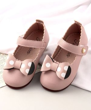 KIDLINGSS Polka Dot Bow Design Mary Jane - Light Pink