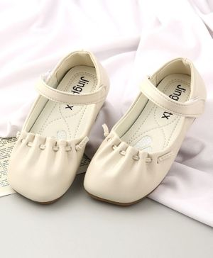 KIDLINGSS Solid Colour Velcro Closure Mary Jane - White