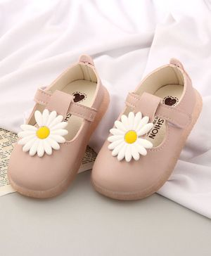 KIDLINGSS Flower Design Velcro Closure Mary Jane - Light Pink