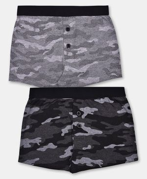 Charm n Cherish Pack Of Two Camouflaged Boxers - Grey