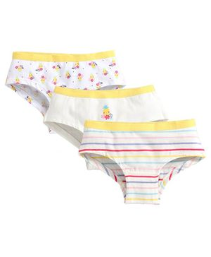 Charm n Cherish Pack Of 3 Striped & Flower Print Hipster Briefs - Multi Color