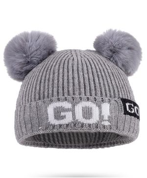 Syga Woolen Cap with Pom Pom Grey - Diameter 36-48cm