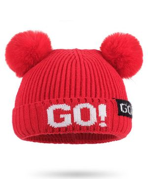Syga Woolen Cap with Pom Pom Red - Diameter 36-48cm