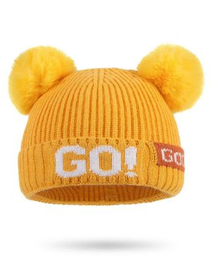 Syga Woolen Cap with Pom Pom Yellow - Diameter 36-48cm